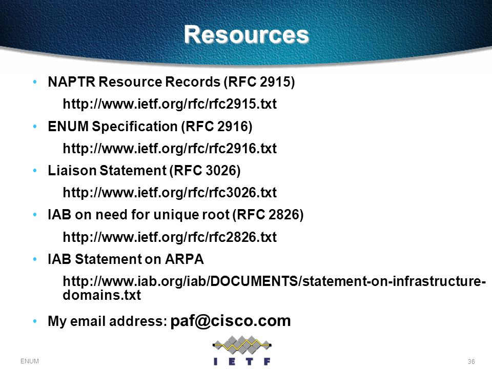 Resources NAPTR Resource Records (RFC 2915)