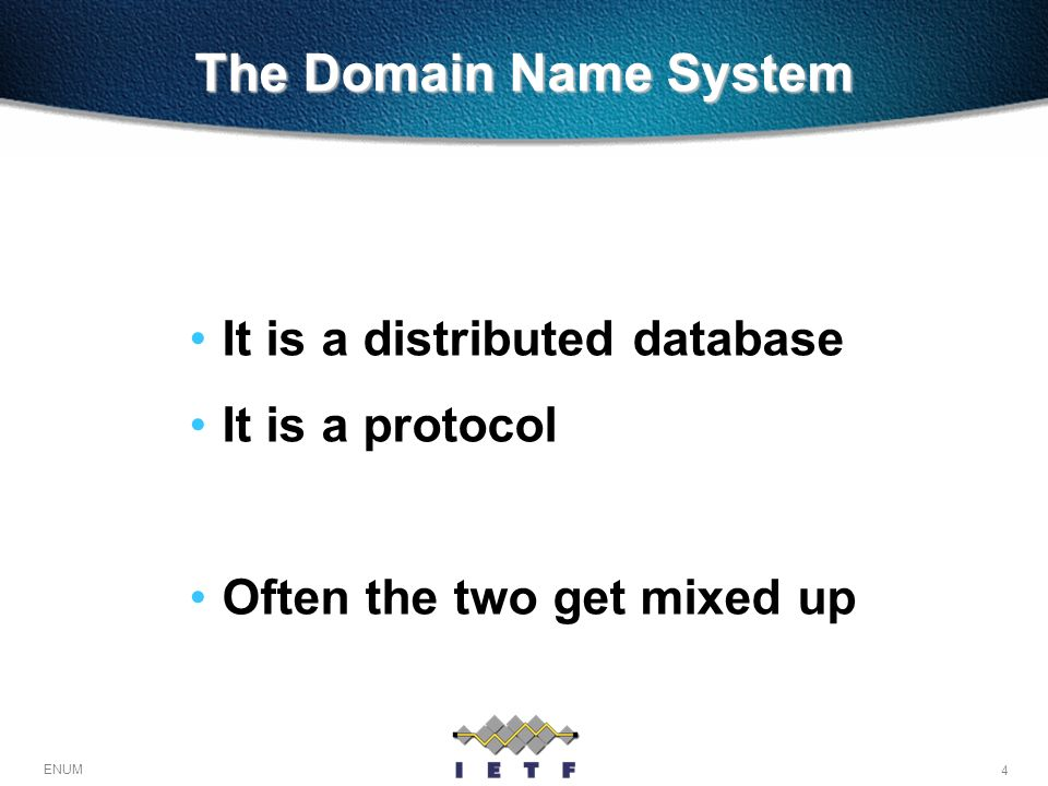 The Domain Name System It is a distributed database It is a protocol