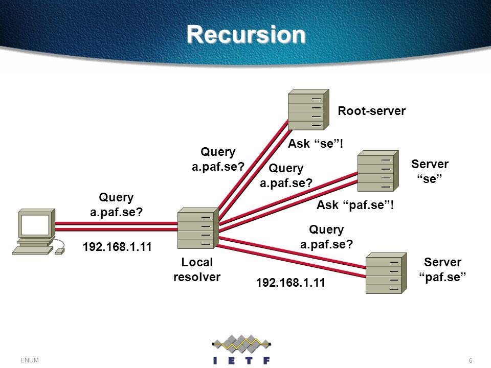 Recursion Root-server Query a.paf.se Ask se ! Server se Query