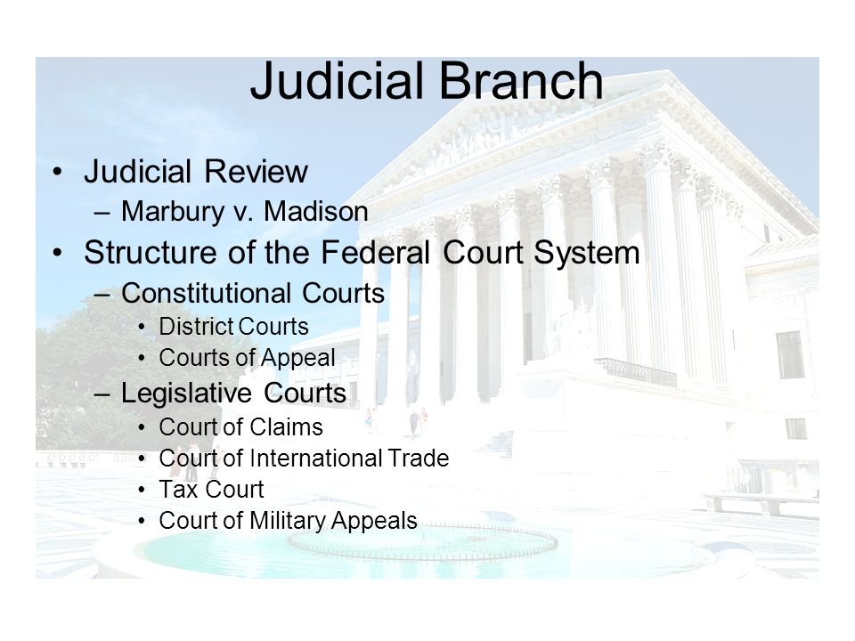 Judicial Branch Judicial Review Structure of the Federal Court System