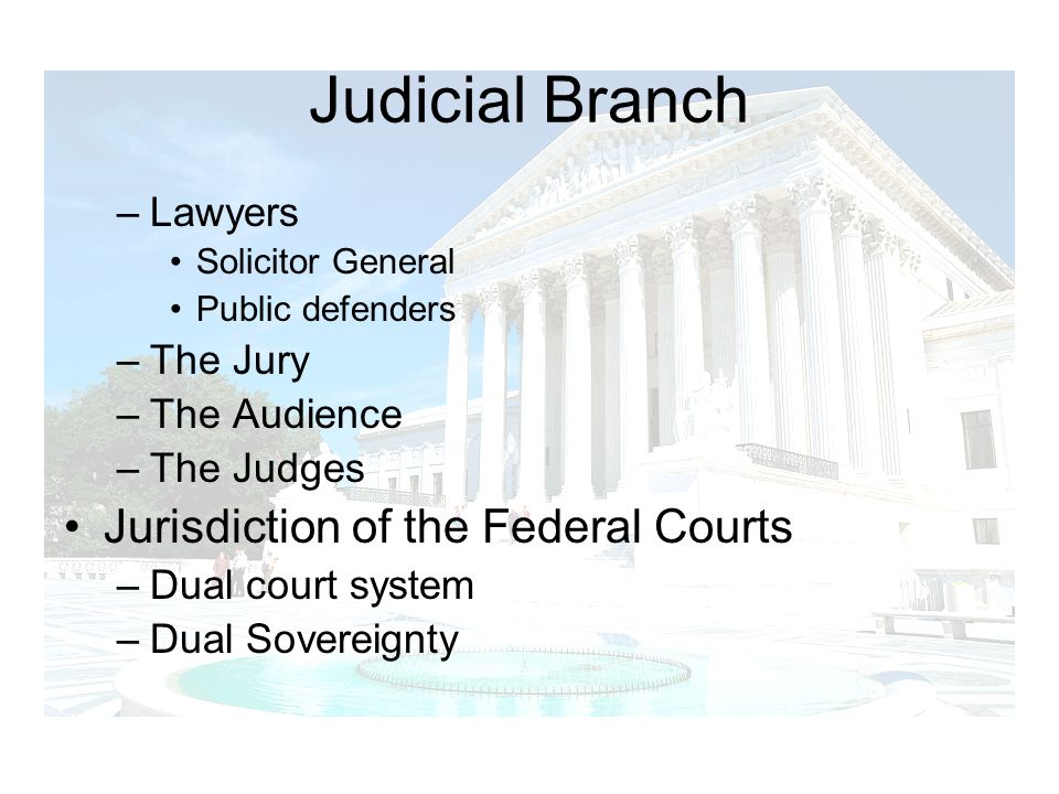 Judicial Branch Jurisdiction of the Federal Courts Lawyers The Jury