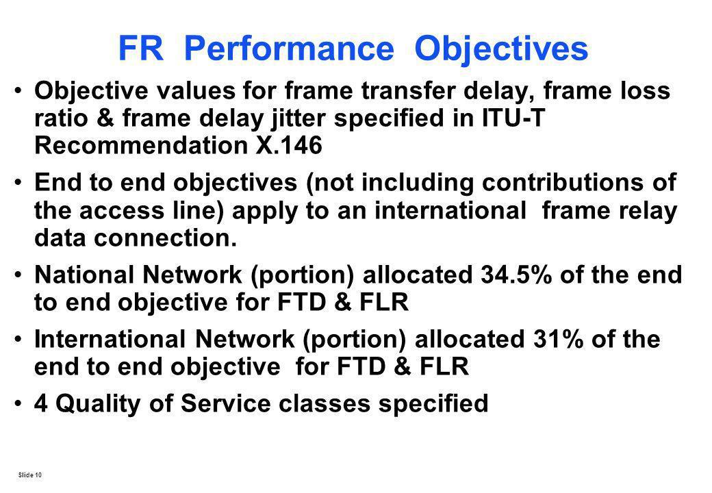 FR Performance Objectives