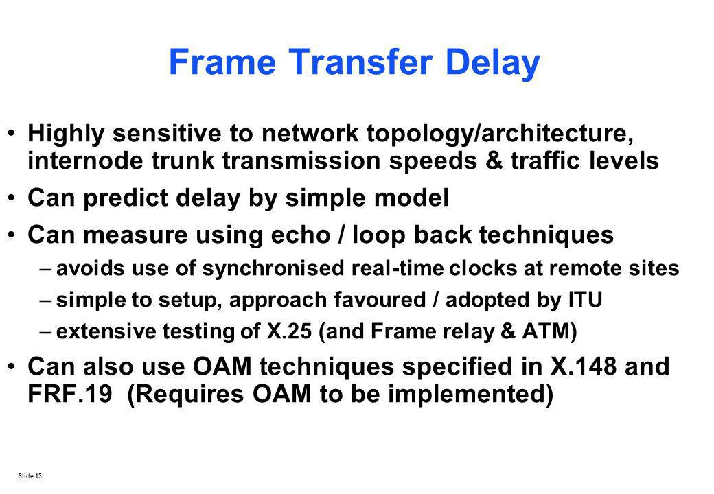 Frame Transfer Delay Highly sensitive to network topology/architecture, internode trunk transmission speeds & traffic levels.