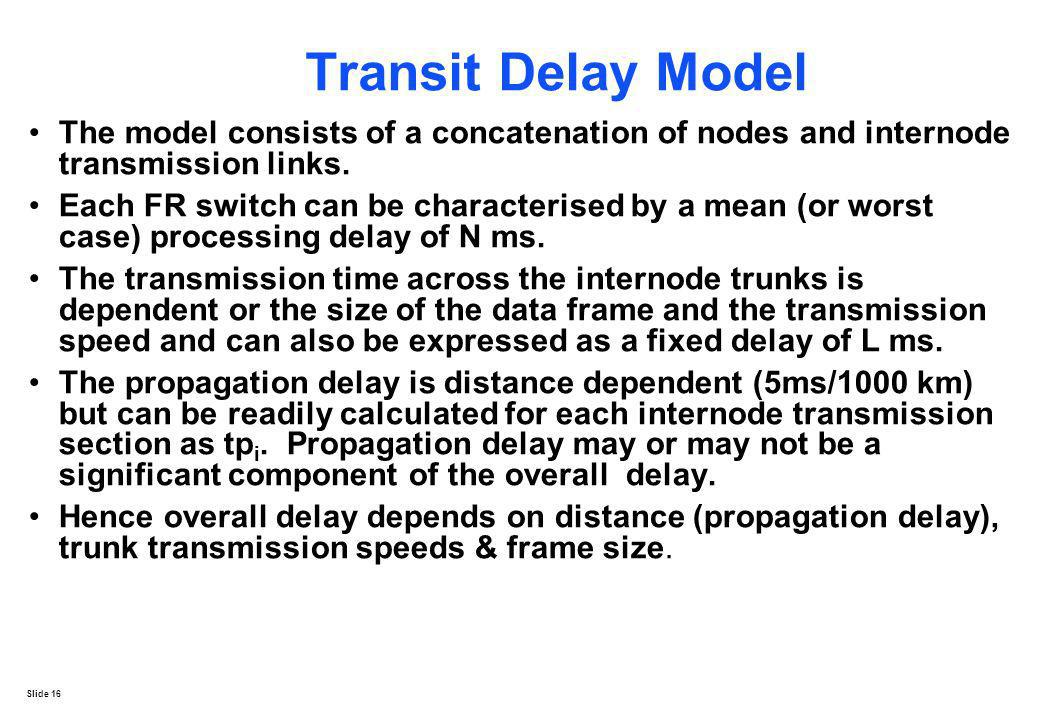Transit Delay Model The model consists of a concatenation of nodes and internode transmission links.