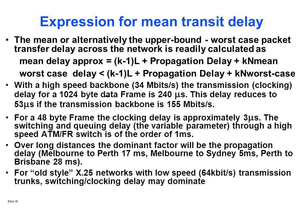 Expression for mean transit delay
