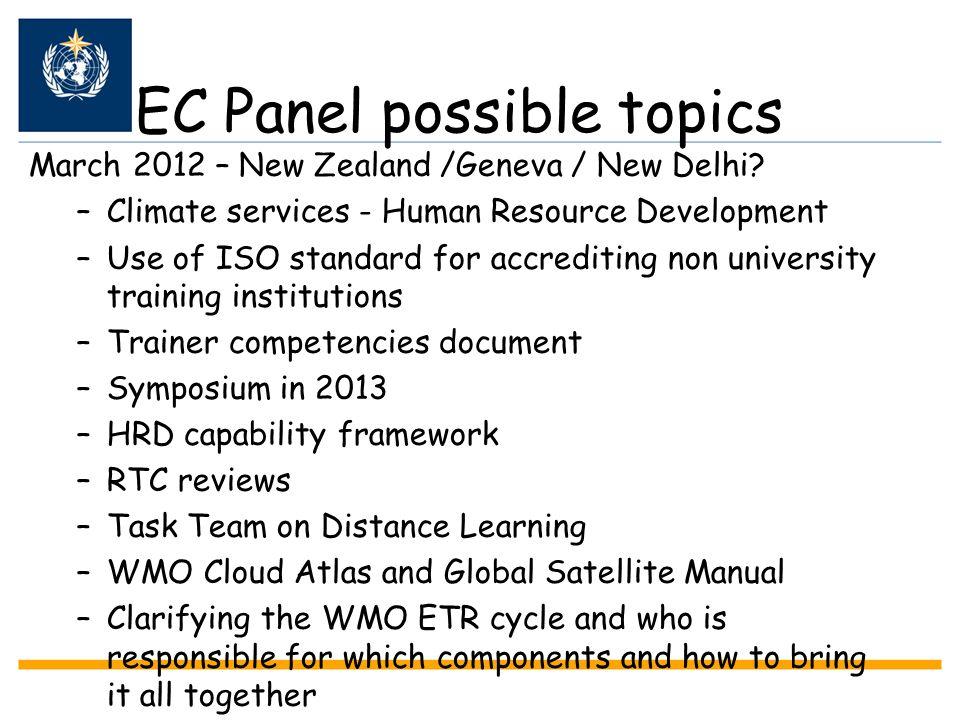 EC Panel possible topics