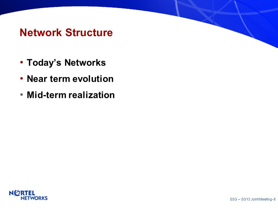 Network Structure Today's Networks Near term evolution