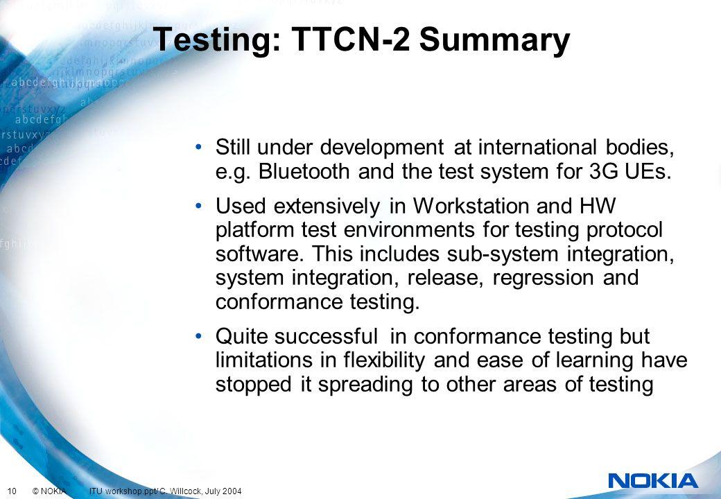 Testing: TTCN-2 Summary