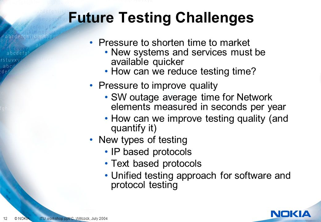 Future Testing Challenges