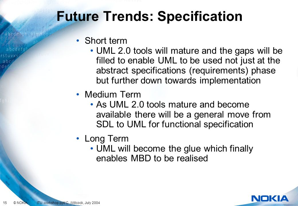 Future Trends: Specification
