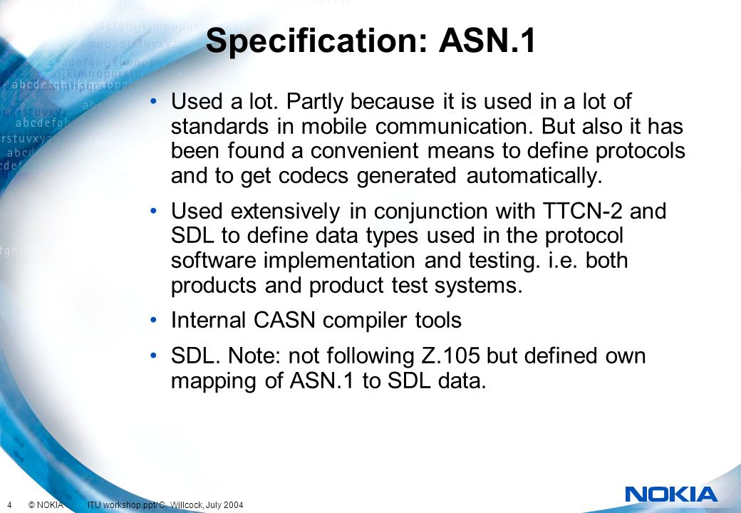 Specification: ASN.1