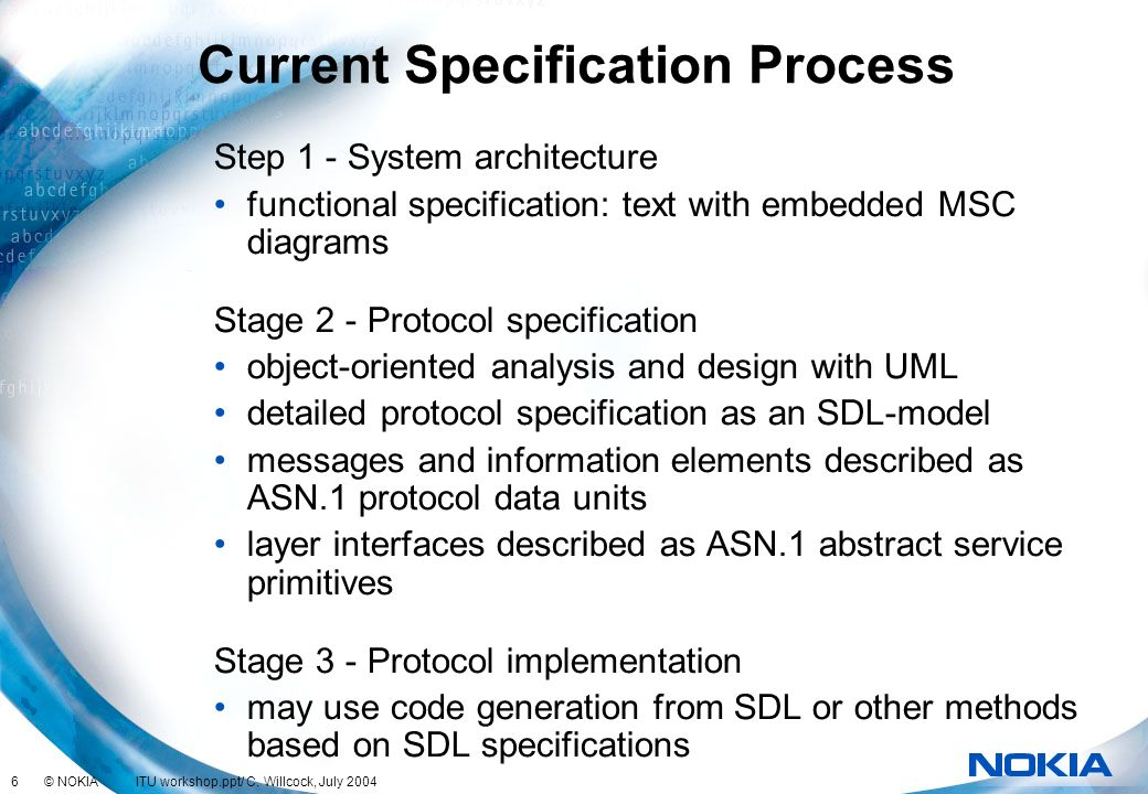 Current Specification Process