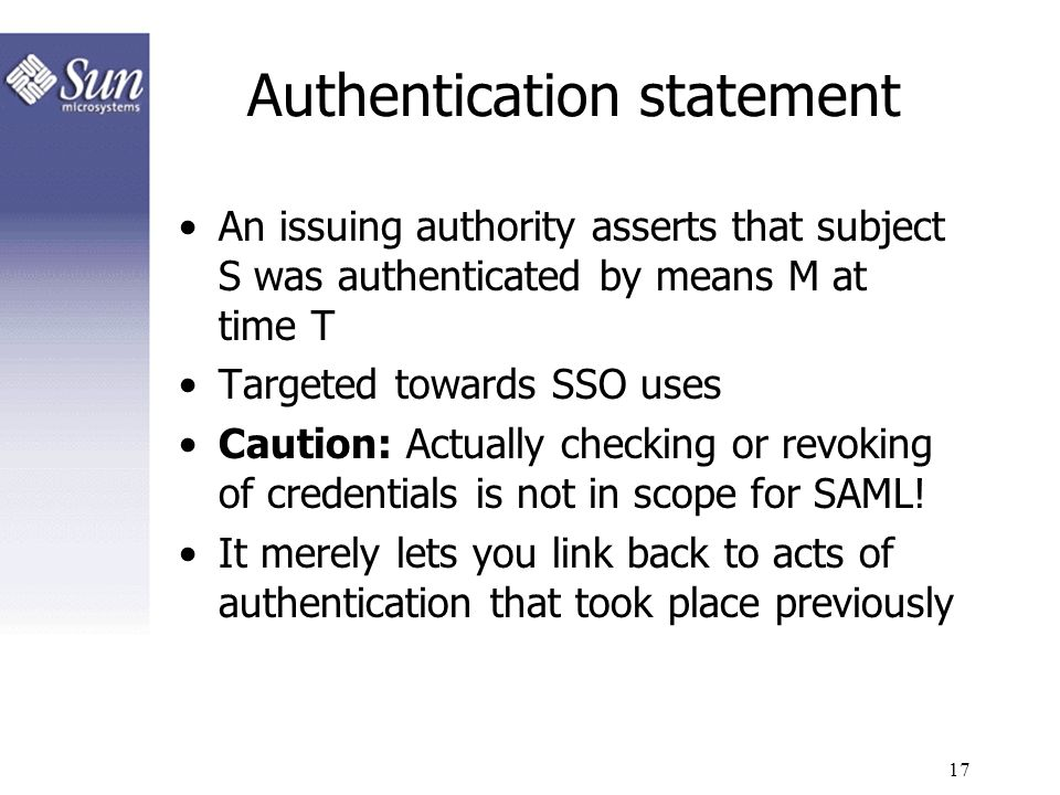 Authentication statement