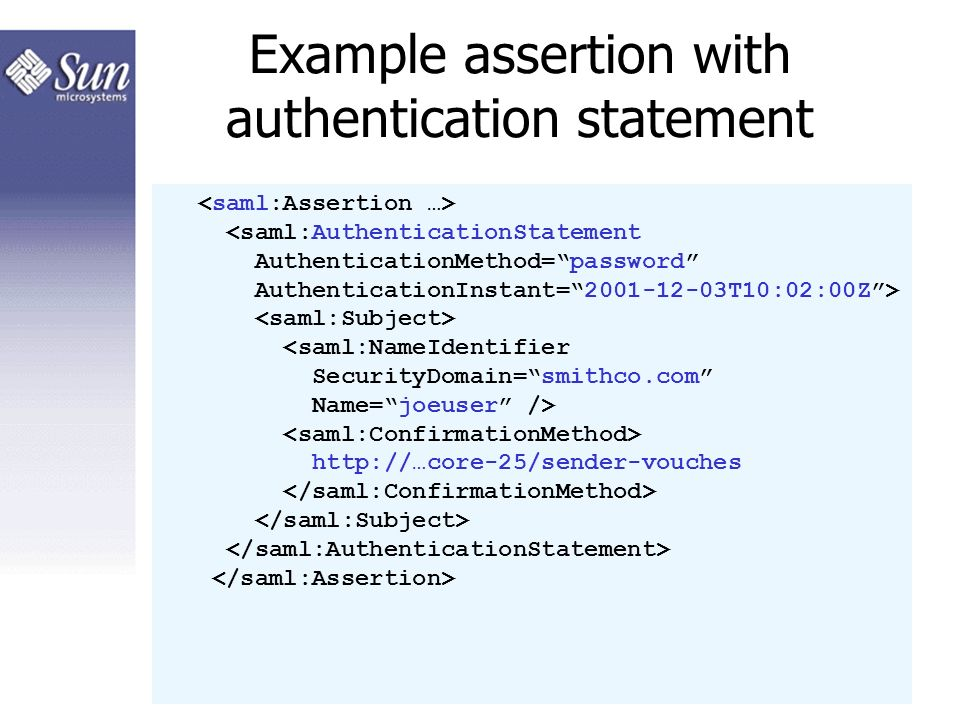 Example assertion with authentication statement