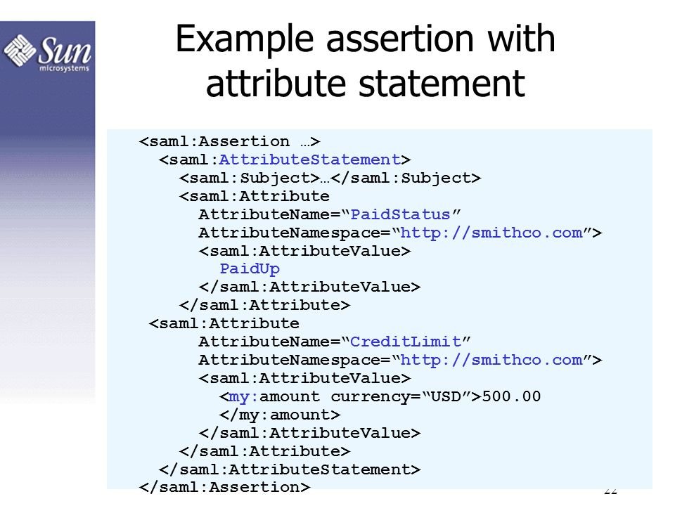 Example assertion with attribute statement
