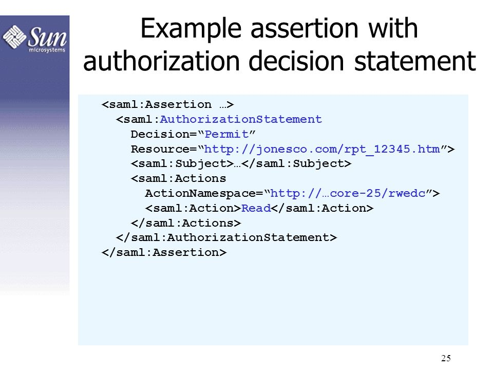 Example assertion with authorization decision statement