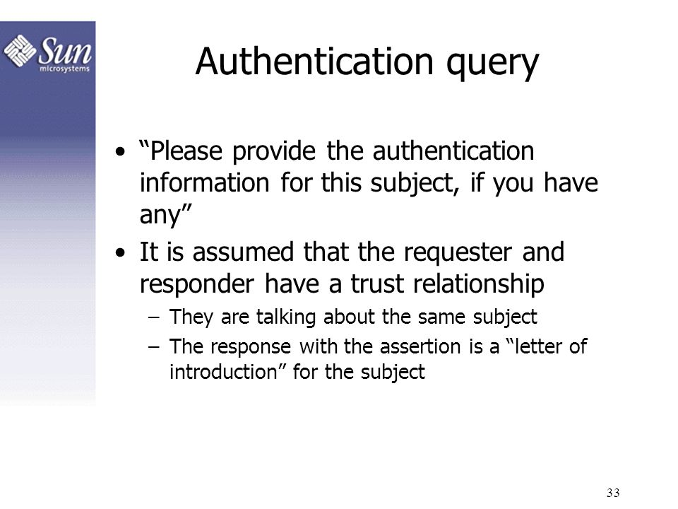 Authentication query Please provide the authentication information for this subject, if you have any
