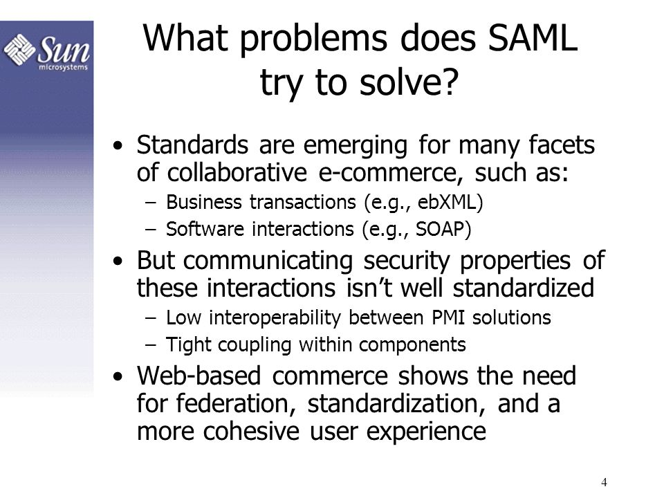 What problems does SAML try to solve