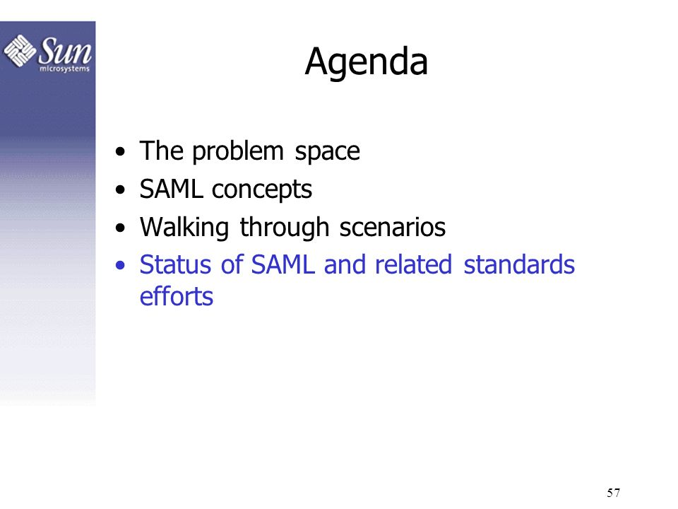 Agenda The problem space SAML concepts Walking through scenarios