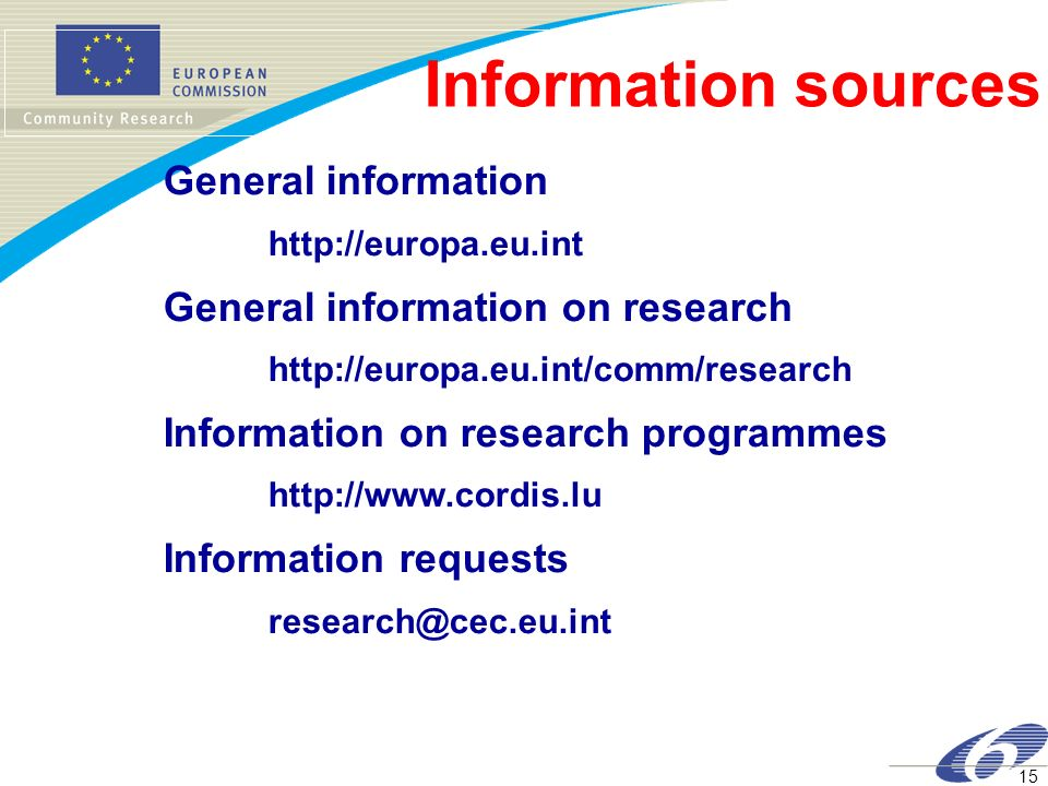 Information sources General information