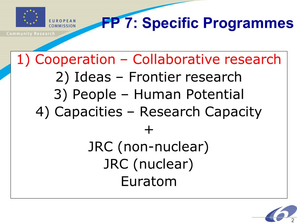 FP 7: Specific Programmes