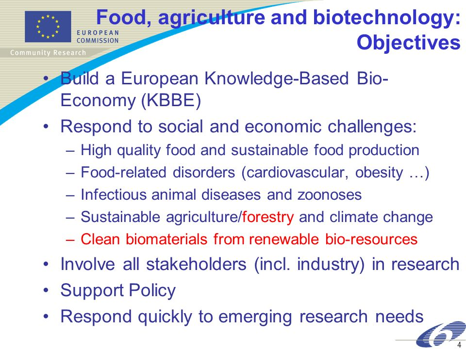 Food, agriculture and biotechnology: Objectives