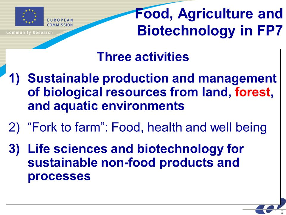 Food, Agriculture and Biotechnology in FP7