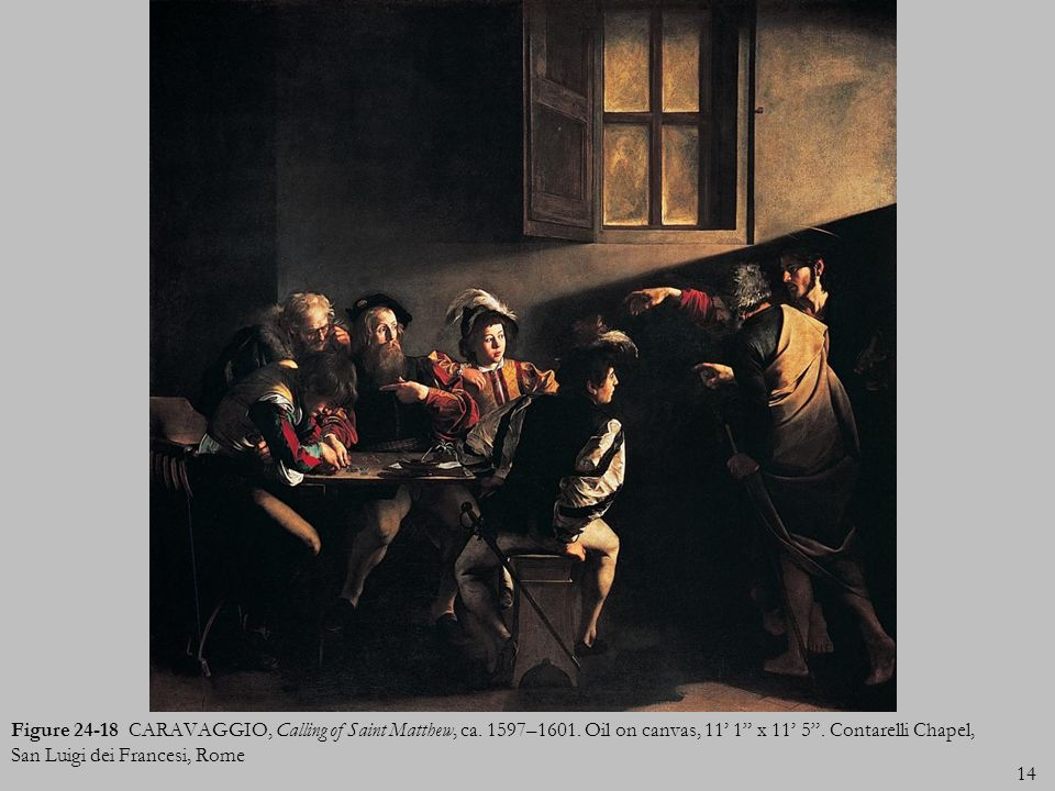 Figure 24-18 CARAVAGGIO, Calling of Saint Matthew, ca. 1597–1601