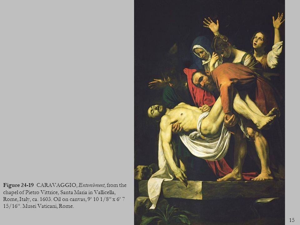 Figure 24-19 CARAVAGGIO, Entombment, from the chapel of Pietro Vittrice, Santa Maria in Vallicella, Rome, Italy, ca.
