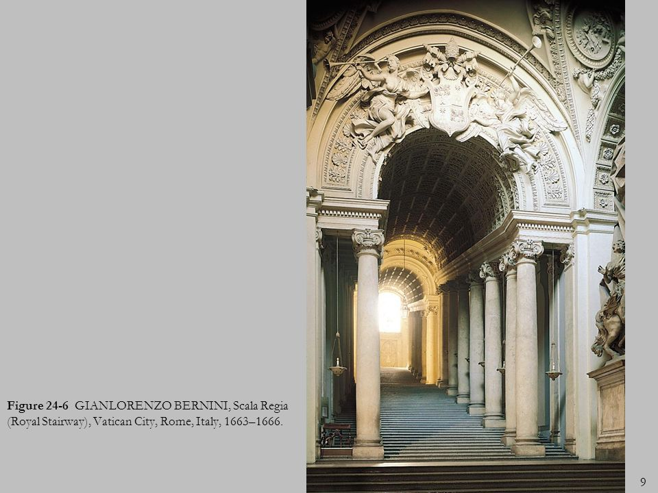 Figure 24-6 GIANLORENZO BERNINI, Scala Regia (Royal Stairway), Vatican City, Rome, Italy, 1663–1666.