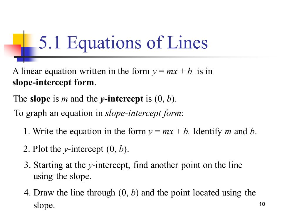 Drawing Lines Using Y Mx C : Equations of lines the form ax by c