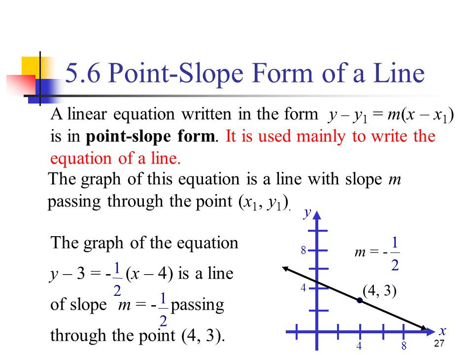 how to find equation of a line slope and point