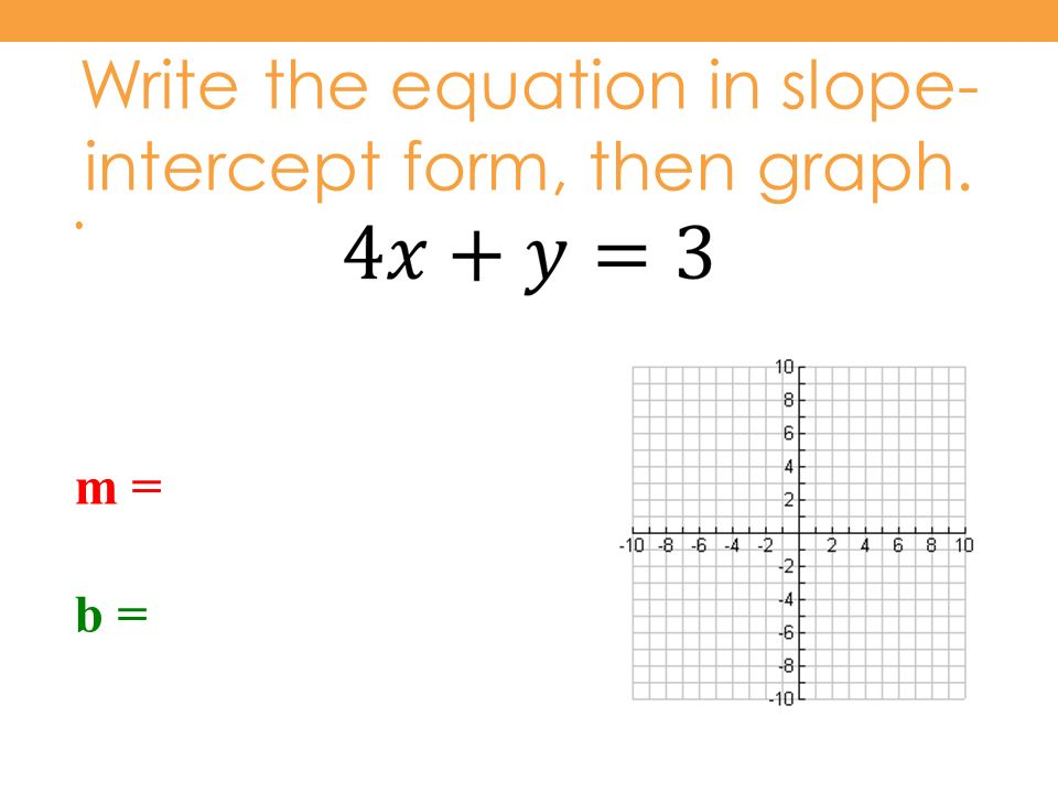 write the slope intercept form of the equation The equation of a line is typically written as y=mx+b where m is the slope and b is the y-intercept if you know the slope (m) any y-intercept (b) of a line, this.