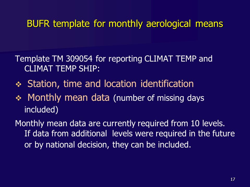 BUFR template for monthly aerological means