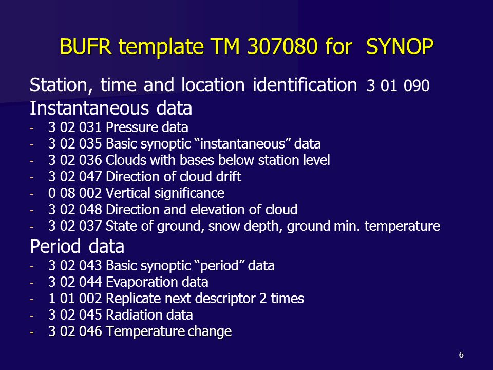 BUFR template TM 307080 for SYNOP