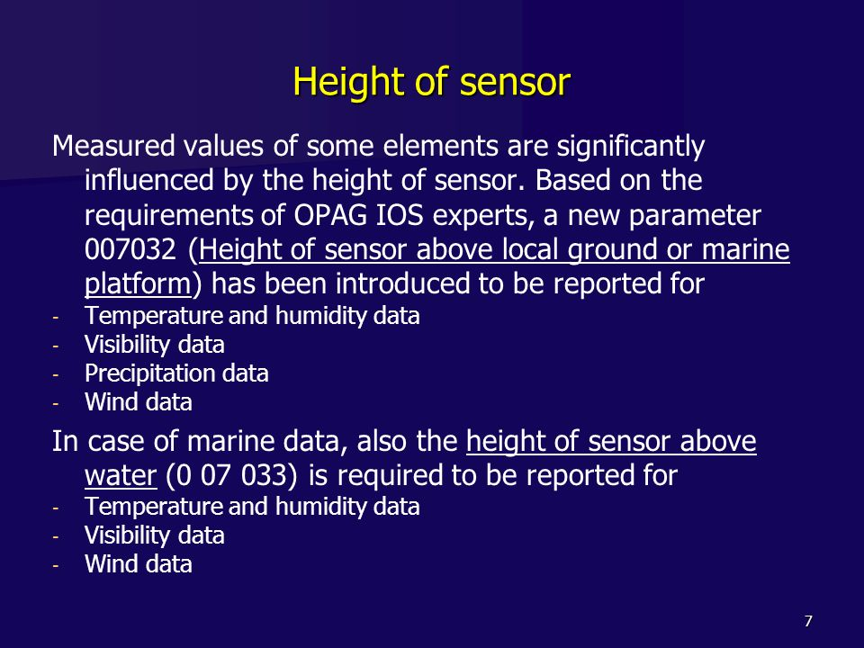 Height of sensor