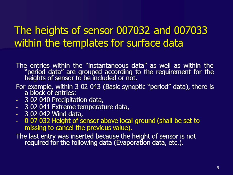 The heights of sensor 007032 and 007033 within the templates for surface data