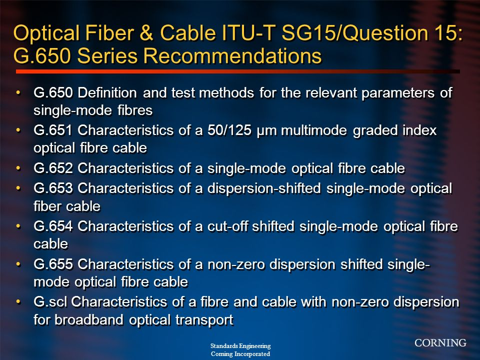 Optical Fiber & Cable ITU-T SG15/Question 15: G