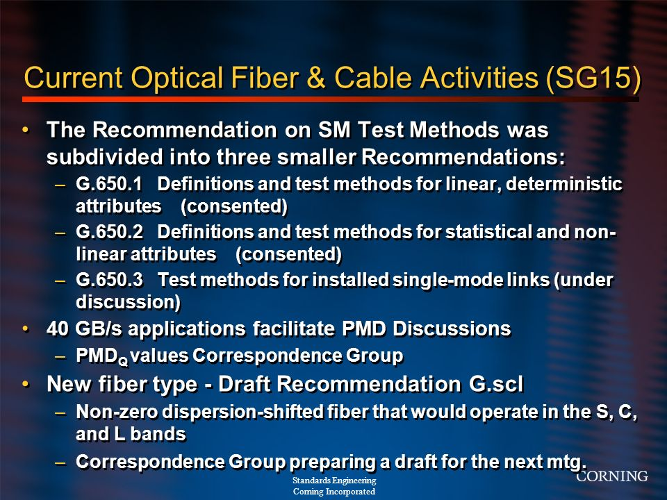 Current Optical Fiber & Cable Activities (SG15)
