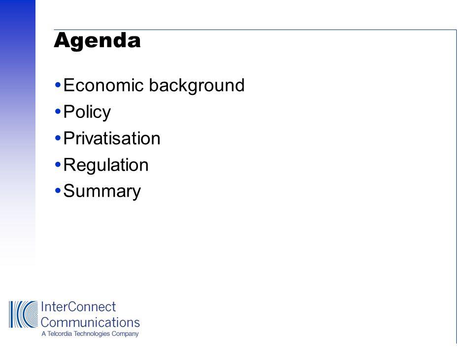 Agenda Economic background Policy Privatisation Regulation Summary