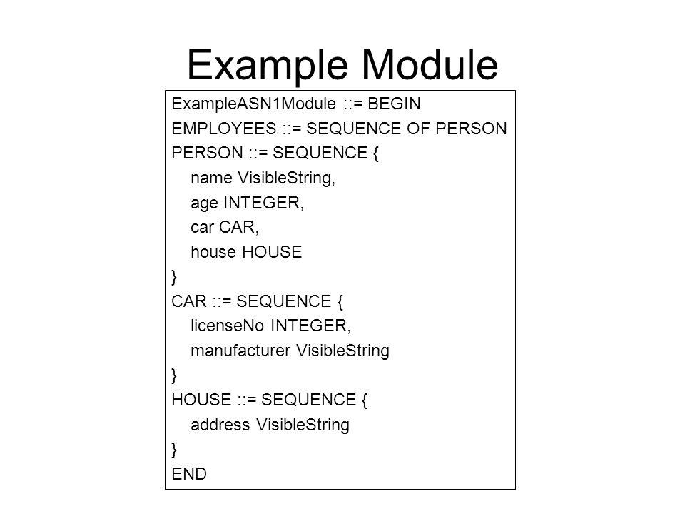 Example Module ExampleASN1Module ::= BEGIN