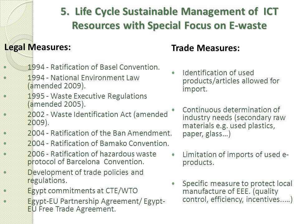 5. Life Cycle Sustainable Management of ICT Resources with Special Focus on E-waste