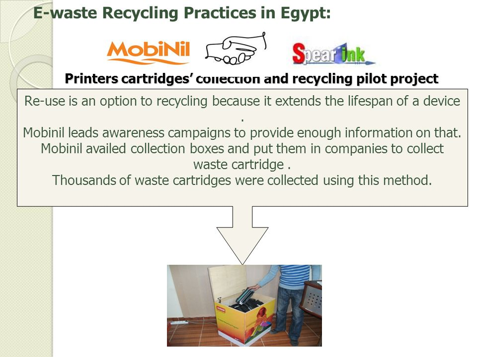 Printers cartridges' collection and recycling pilot project