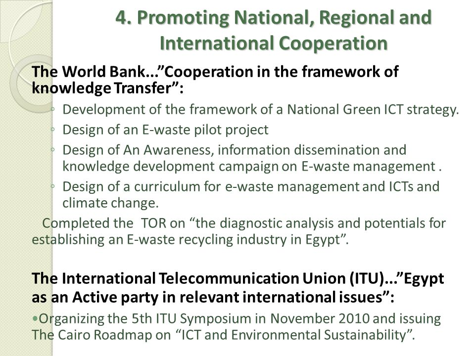 4. Promoting National, Regional and International Cooperation