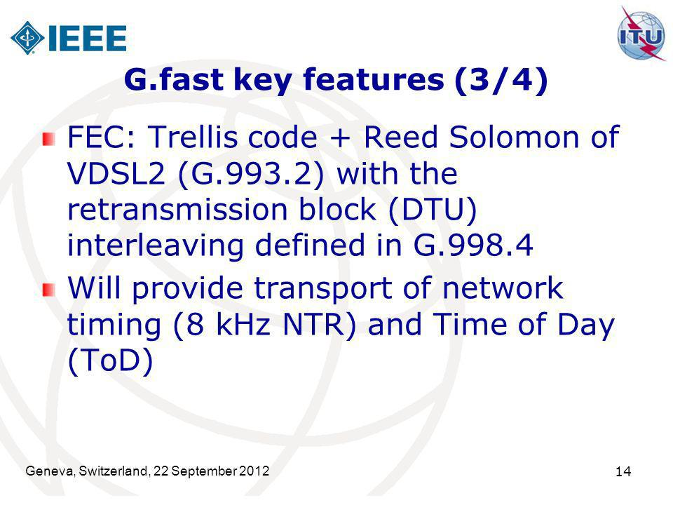 G.fast key features (3/4) FEC: Trellis code + Reed Solomon of VDSL2 (G.993.2) with the retransmission block (DTU) interleaving defined in G.998.4.