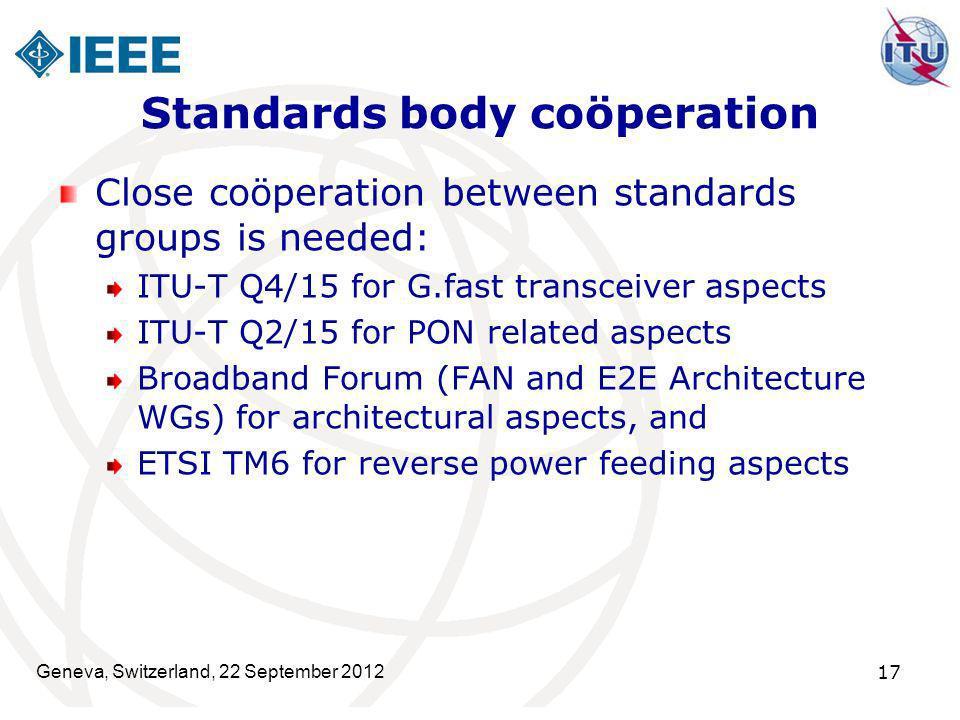 Standards body coöperation