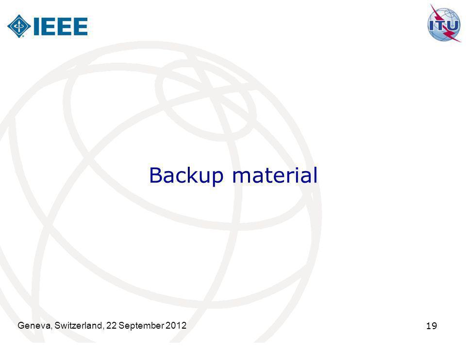 Backup material Geneva, Switzerland, 22 September 2012