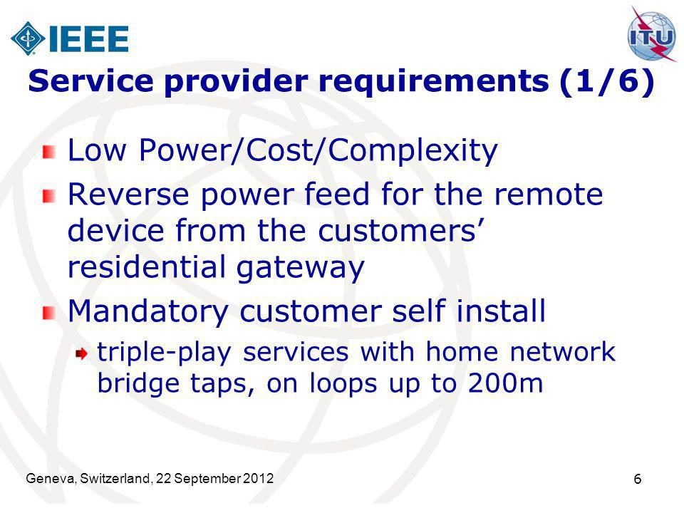 Service provider requirements (1/6)