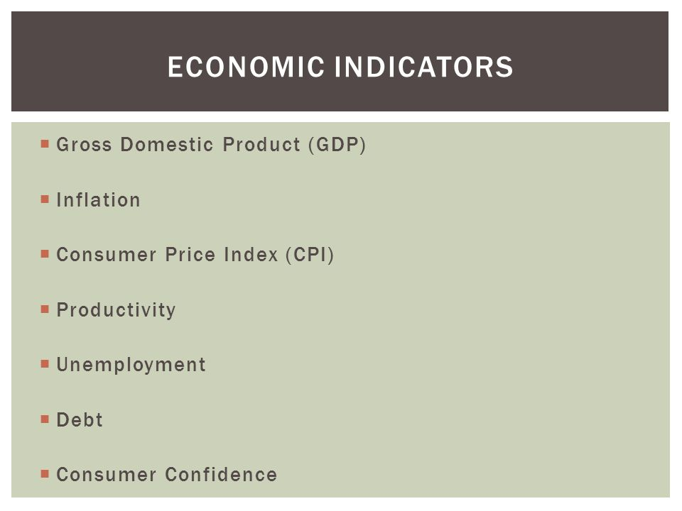 Economic indicators Gross Domestic Product (GDP) Inflation