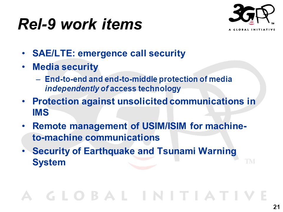 Rel-9 work items SAE/LTE: emergence call security Media security